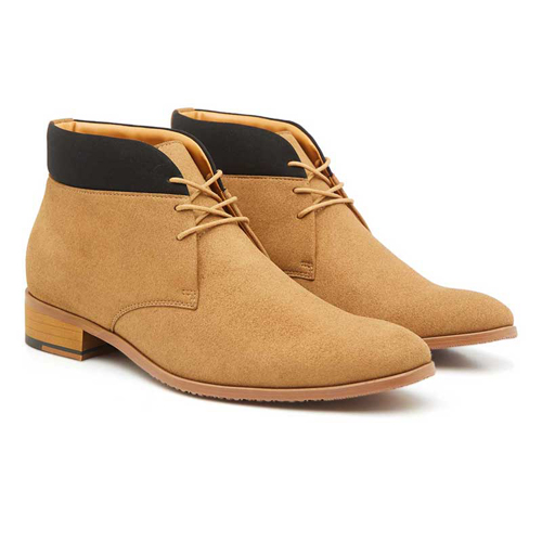 Elevato Height Increasing Tan Ankle Boots