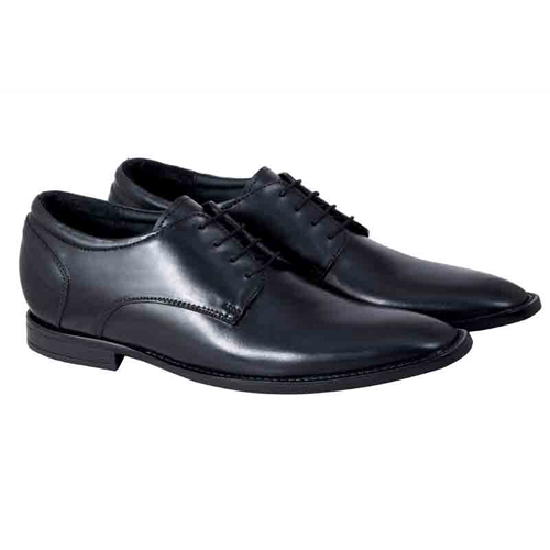 Elevato Height Increasing Black Leather Shoes